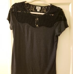 Charcoal and Black Lace Shirt